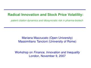 Radical Innovation and Stock Price Volatility: