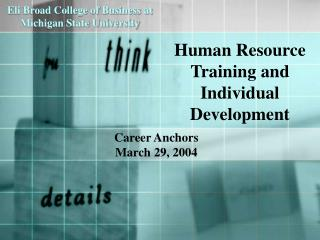 Human Resource Training and Individual Development
