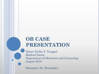OB CASE PRESENTATION