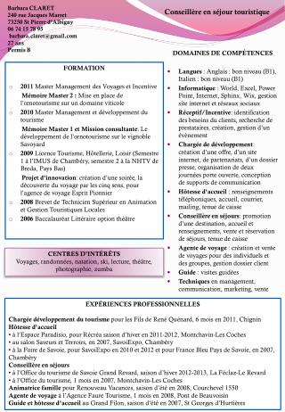 FORMATION 2011  Master Management des Voyages et Incentive