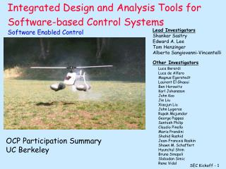 Integrated Design and Analysis Tools for Software-based Control Systems Software Enabled Control