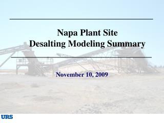 Napa Plant Site  Desalting Modeling Summary