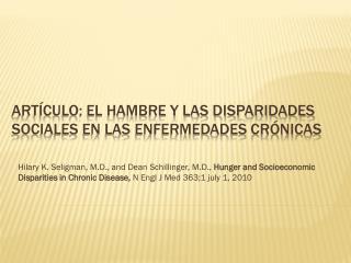 Artículo: El hambre y las disparidades sociales en las enfermedades crónicas