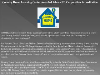 Country Home Learning Center Awarded AdvancED Corporation Ac