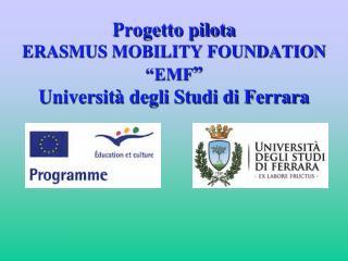 """Progetto pilota  ERASMUS MOBILITY FOUNDATION """"EMF """" Università degli Studi di Ferrara"""
