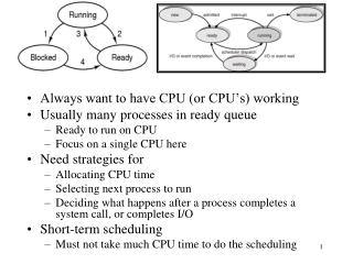 Always want to have CPU (or CPU's) working Usually many processes in ready queue