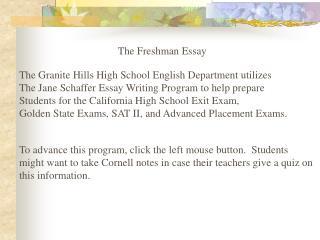 The Freshman Essay