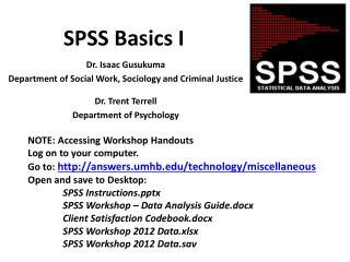 SPSS Basics I