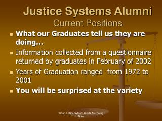 Justice Systems Alumni Current Positions