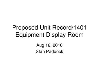 Proposed Unit Record/1401 Equipment Display Room