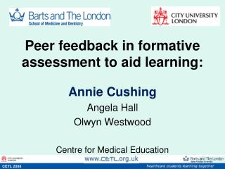 Peer feedback in formative assessment to aid learning: