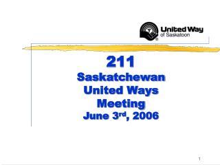 211 Saskatchewan United Ways Meeting June 3 rd , 2006
