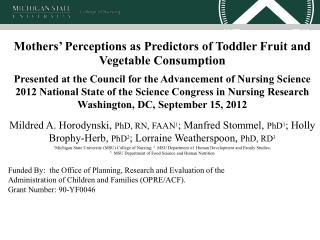 Mothers' Perceptions as Predictors of Toddler Fruit and Vegetable Consumption