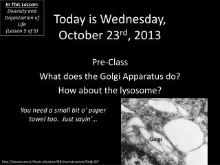 Today is Wednesday, October 23 rd , 2013