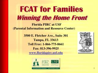 FCAT for Families  Winning the Home Front