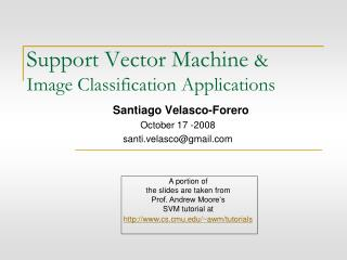 Support Vector Machine  & Image Classification Applications