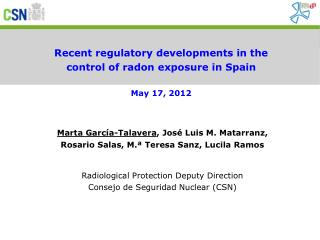 Recent regulatory developments in the control of radon exposure in Spain May 17, 2012