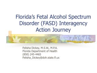 Florida's Fetal Alcohol Spectrum Disorder (FASD) Interagency Action Journey
