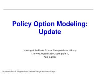 Policy Option Modeling: Update