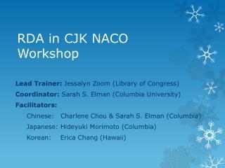 RDA in CJK NACO Workshop