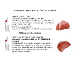 Proposed UNECE Bovine / Ovine addition