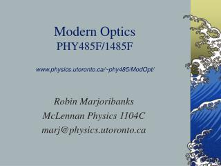 Modern Optics PHY485F