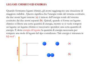 LEGAME CHIMICO ED ENERGIA