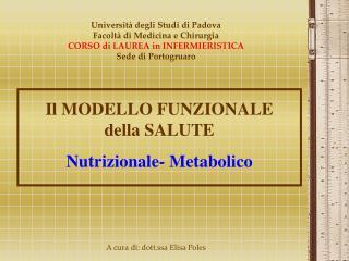 Il MODELLO FUNZIONALE della SALUTE Nutrizionale- Metabolico
