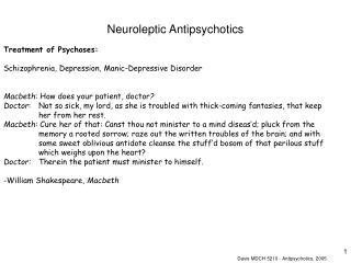 Neuroleptic Antipsychotics