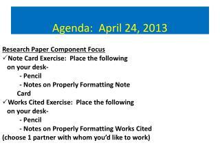 Agenda:  April  24,  2013