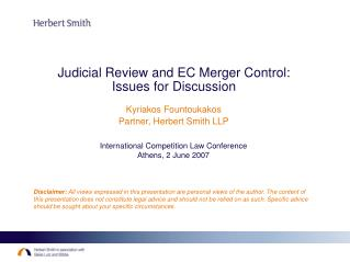 Judicial Review and EC Merger Control: Issues for Discussion
