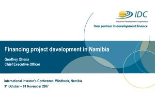 Financing project development in Namibia