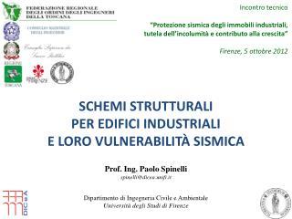 Schemi  strutturali per edifici industriali e  loro  vulnerabilità sismica