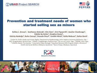 Prevention and treatment needs of women who started selling sex as minors