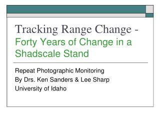 Tracking Range Change -  Forty Years of Change in a Shadscale Stand