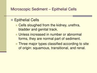 Microscopic Sediment   Epithelial Cells