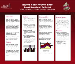Insert Your Poster Title  Insert Name(s) of Author(s) Insert  Name and Credentials Faculty Mentor