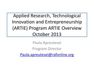 Paula Apreutesei Program Director Paula.apreutesei@rafonline