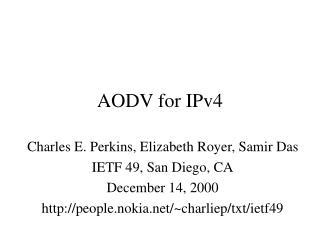 AODV for IPv4