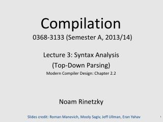 Compilation   0368 - 3133 (Semester A, 2013/14)