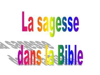 La sagesse dans la Bible