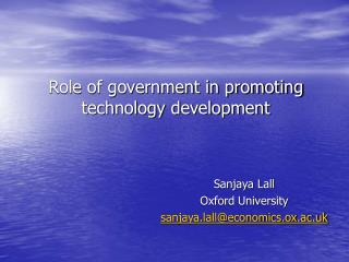 Role of government in promoting technology development