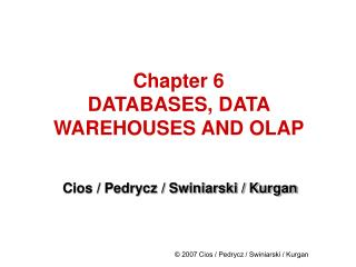 Chapter 6 DATABASES, DATA WAREHOUSES AND OLAP