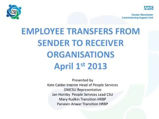 EMPLOYEE TRANSFERS FROM SENDER TO RECEIVER ORGANISATIONS April 1 st  2013