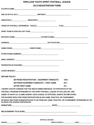 PAPILLION YOUTH SPIRIT FOOTBALL LEAGUE 2013 REGISTRATION FORM