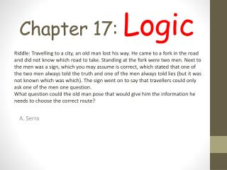 Chapter 17 :  Logic