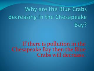W hy are the Blue  C rabs decreasing in the Chesapeake Bay?