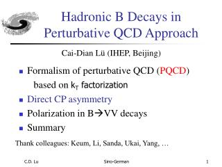 Hadronic B Decays in Perturbative QCD Approach