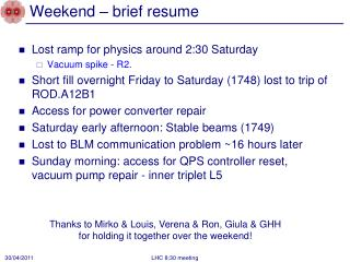 Weekend – brief resume