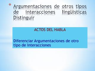A rgumentaciones de otros tipos de interacciones lingüísticas Distinguir